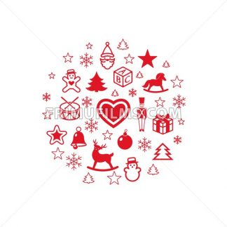 Digital vector red happy new year icons with drawn simple line art info graphic, presentation with toys and gifts elements around promo template, flat style - frimufilms.com