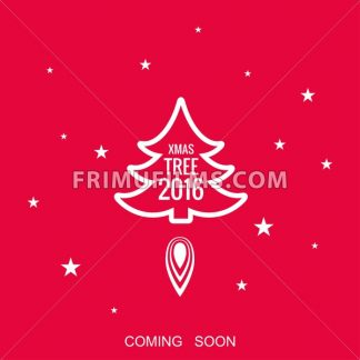 Digital vector red happy new year merry christmas icon with drawn simple line art, fir tree with fire spark and stars promo template, flat style - frimufilms.com