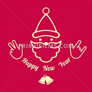 Digital vector red happy new year merry christmas icon with drawn simple line art, santa claus face with beard and bells promo template, flat style - frimufilms.com