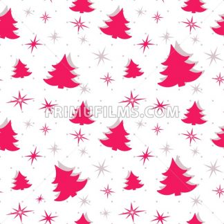 Digital vector red happy new year merry christmas icons with drawn simple line art info graphic, seamless pattern, presentation with tree and stars elements around promo template, flat style - frimufilms.com