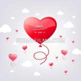 Digital vector red heart texture valentine day bubble or wedding design element, love and passion, poster template for print or ads flat style - frimufilms.com