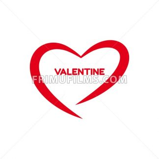 Digital vector red heart texture valentine day or wedding design element, love and passion, flat style - frimufilms.com