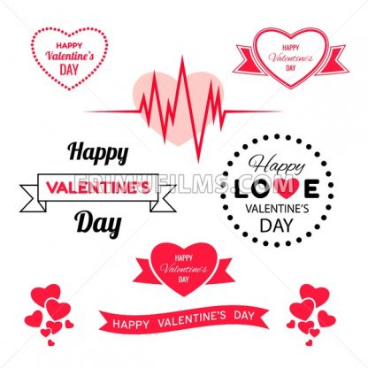 Digital vector red heart texture valentine day or wedding design element, love and passion, poster template for print or ads flat style - frimufilms.com