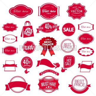 Digital vector red modern sale stickers collection, ribbon and badges, tags with text, limited edition, best choice, special offer, flat style icon - frimufilms.com