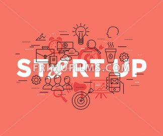 Digital vector red startup team icons with drawn simple line art info graphic, presentation with rocket, project and business elements around promo template, flat style - frimufilms.com