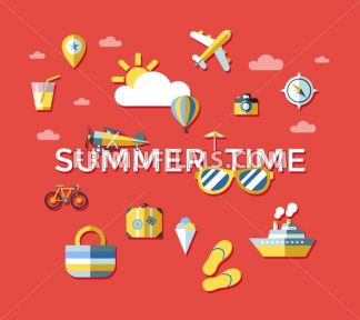 Digital vector red summer time travel icons set with drawn simple line art info graphic poster promo, ship boat camera balloon compass air plane map globe taxi card hotel, flat style - frimufilms.com
