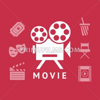 Digital vector red white cinema icons with drawn simple line art info graphic, presentation with screen, movie and old camera elements around promo template, flat style - frimufilms.com