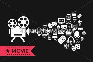 Digital vector red white cinema icons with drawn simple line art info graphic, presentation with screen, movie and old camera projecting elements around promo template, flat style - frimufilms.com