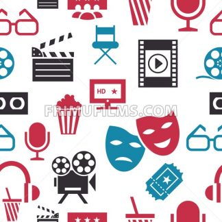 Digital vector red white cinema icons with drawn simple line art info graphic, seamless pattern, presentation with screen, movie and old camera elements around promo template, flat style - frimufilms.com