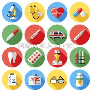 Digital vector red yellow blue medical icons with drawn simple line art info graphic, ambulance tooth pills nurse heart tubes syringe medicine dropper first aid thermometer, flat style - frimufilms.com