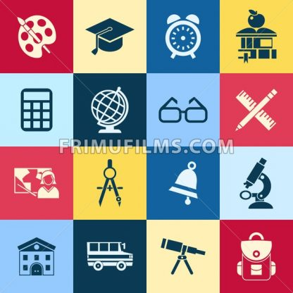 Digital vector red yellow blue school icons infographic with drawn simple line art, telescope map globe hat bell clock pen ruler book apple girl boy pupil brush calculator bus building bag, flat style - frimufilms.com