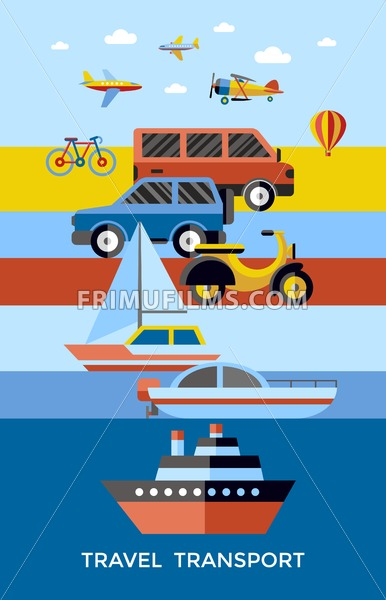 Digital vector red yellow blue travel transport icons set with drawn simple line art info graphic, presentation with car, plane and vehicle elements around promo template, flat style - frimufilms.com