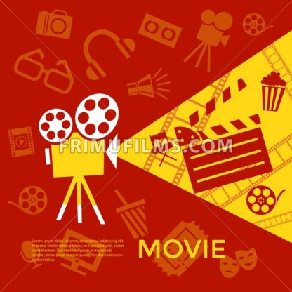 Digital vector red yellow cinema icons with drawn simple line art info graphic, presentation with screen, movie and old camera elements around promo template, flat style - frimufilms.com