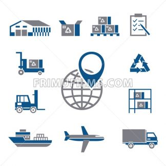 Digital vector silver blue warehouse icons with drawn simple line art info graphic, presentation with transport, globe and storage depositing logistic elements around promo template, flat style - frimufilms.com