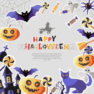 Digital vector silver purple happy halloween icons with drawn simple line art info graphic, presentation with bats, cat and pumpkin elements around promo template, flat style - frimufilms.com