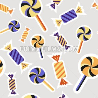 Digital vector silver purple happy halloween icons with drawn simple line art info graphic, seamless pattern, presentation with candies, sweets elements around promo template, flat style - frimufilms.com