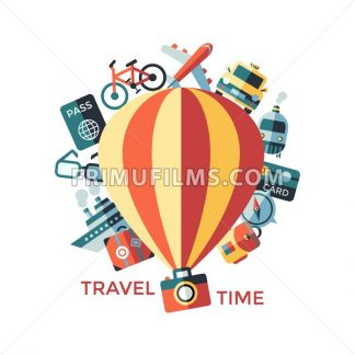 Digital vector travel icons set with drawn simple line art info graphic poster promo, ship boat camera balloon luggage compass air plane map globe taxi card hotel bicycle free, flat style - frimufilms.com