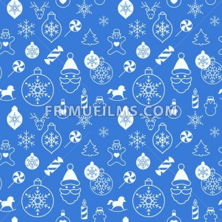 Digital vector white blue happy new year merry christmas icons with drawn simple line art info graphic, seamless pattern, presentation with toys and gifts elements around promo template, flat style - frimufilms.com