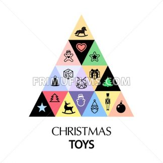 Digital vector white happy new year merry christmas icon with drawn simple line art, fir triangle tree concept and toy elements around promo template, flat style - frimufilms.com