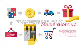 Digital vector white online shopping icons with drawn simple line art info graphic, presentation with money, commerce and coin elements around promo template, flat style - frimufilms.com