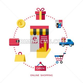 Digital vector white online shopping icons with drawn simple line art info graphic, presentation with money, commerce and economy elements around promo template, flat style - frimufilms.com