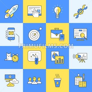 Digital vector yellow and blue startup business icons with drawn simple line art info graphic, presentation with project and team elements around promo template, flat style - frimufilms.com