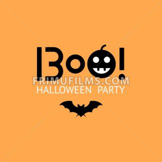 Digital vector yellow black happy halloween icons with drawn simple line art info graphic, presentation with bat and pumpkin elements around promo template, boo text, flat style - frimufilms.com