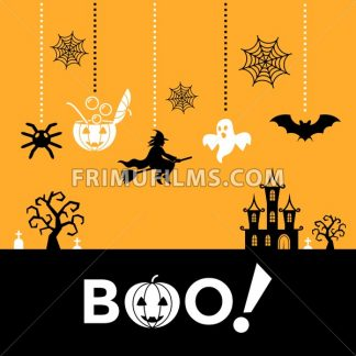 Digital vector yellow black happy halloween icons with drawn simple line art info graphic, presentation with bats, cat and pumpkin elements around promo template, boo text, flat style - frimufilms.com