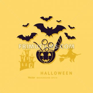 Digital vector yellow black happy halloween icons with drawn simple line art info graphic, presentation with bats, cat and pumpkin elements around promo template, flat style - frimufilms.com