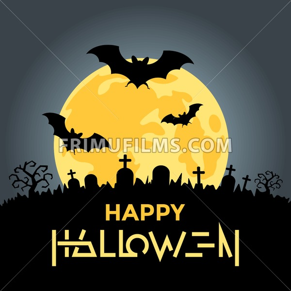 Digital Vector Yellow Black Happy Halloween Icons With Drawn Simple Line Art Info Graphic Presentation With Bats Moon And Cemetery Elements Around Promo Template Flat Style Frimufilms