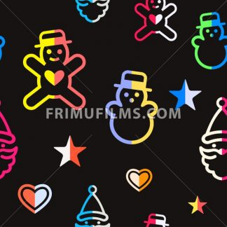 Digital vector yellow black happy new year merry christmas icons with drawn simple line art info graphic, seamless pattern, presentation with toys and gifts elements around promo template, flat style - frimufilms.com