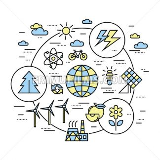 Digital vector yellow blue ecology environment icons with drawn simple line art info graphic, presentation with recycle, production and alternative energy circuit elements around promo template, flat - frimufilms.com