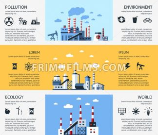 Digital vector yellow blue factory pollution icons with drawn simple line art info graphic, presentation with nuclear plant, smoke, environment and energy elements around promo template, flat style - frimufilms.com