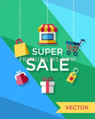 Digital vector yellow blue green shopping super sale icons with drawn simple line art info graphic, presentation with money, shop and gift elements around promo template, flat style - frimufilms.com
