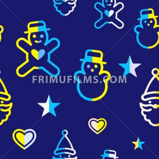 Digital vector yellow blue happy new year merry christmas icons with drawn simple line art info graphic, seamless pattern, presentation with toys and gifts elements around promo template, flat style - frimufilms.com