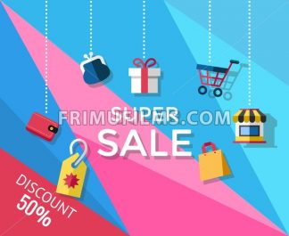Digital vector yellow blue pink shopping super sale icons with drawn simple line art info graphic, presentation with money, shop and card elements around promo template, flat style - frimufilms.com
