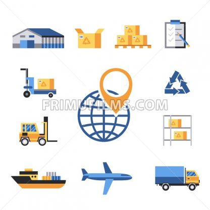 Digital vector yellow blue warehouse icons with drawn simple line art info graphic, presentation with transport, globe and storage depositing logistic elements around promo template, flat style - frimufilms.com