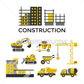 Digital vector yellow construction building tracks icons with drawn simple line art info graphic, presentation with crane, grout, excavator and cement elements around promo template, flat style - frimufilms.com