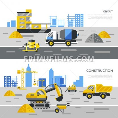 Digital vector yellow construction building tracks icons with drawn simple line art info graphic, presentation with crane, road, grout, excavator and cement elements around promo template, flat style - frimufilms.com
