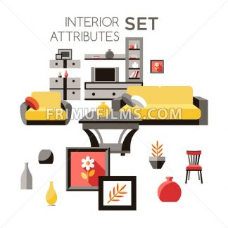 Digital vector yellow furniture icons with drawn simple line art info graphic, presentation with vase, flower, wardrobe, sofa and interior elements around promo template, flat style - frimufilms.com