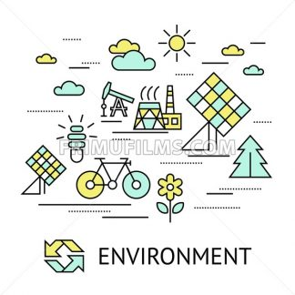 Digital vector yellow green ecology environment icons with drawn simple line art info graphic, presentation with recycle, production and alternative energy circuit elements around promo template, flat - frimufilms.com