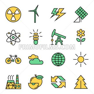 Digital vector yellow green ecology icons with drawn simple line art info graphic, presentation with recycle, production and alternative energy circuit elements around promo template, flat - frimufilms.com