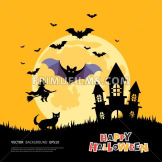 Digital vector yellow purple happy halloween icons with drawn simple line art info graphic, presentation with bats big moon, cat and pumpkin elements around promo template, flat style - frimufilms.com