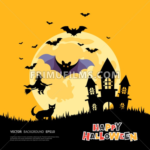 Digital Vector Yellow Purple Happy Halloween Icons With Drawn Simple Line Art Info Graphic Presentation With Bats Big Moon Cat And Pumpkin Elements Around Promo Template Flat Style Frimufilms