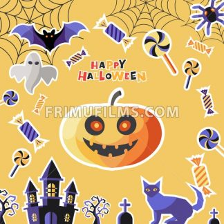 Digital vector yellow purple happy halloween icons with drawn simple line art info graphic, presentation with bats, cat and pumpkin elements around promo template, flat style - frimufilms.com