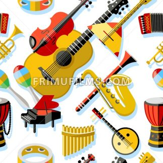 Digital vector yellow red music instruments icons with drawn simple line art info graphic, seamless pattern, presentation with guitar, piano, drums and sound elements around promo template, flat style - frimufilms.com
