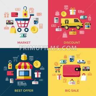Digital vector yellow red shopping sale icons with drawn simple line art info graphic, presentation with money, commerce and economy elements around promo template, discount, flat style - frimufilms.com