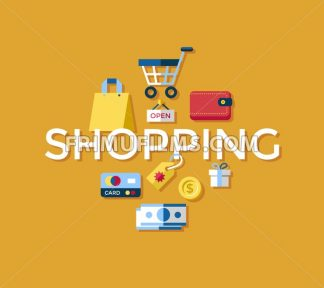 Digital vector yellow shopping sale icons with drawn simple line art info graphic, presentation with money, commerce and economy elements around promo template, flat style - frimufilms.com