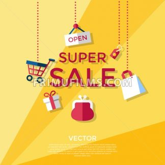 Digital vector yellow shopping super sale icons with drawn simple line art info graphic, presentation with money, bag and economy elements around promo template, flat style - frimufilms.com
