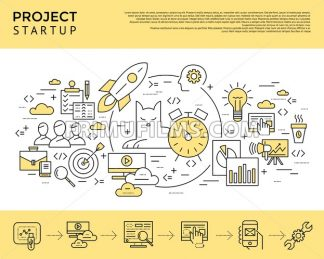 Digital vector yellow startup business icons with drawn simple line art info graphic, presentation with project and team elements around promo template, flat style - frimufilms.com